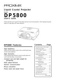 Proxima Asa Dp5800 User Manual 29 Pages
