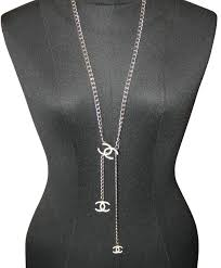 chanel necklace. product description. this silver chanel chain necklace