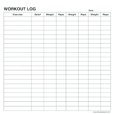 Exercise Log Template Chanceinc Co