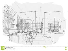 Modern Interior Design Office Sketches Sketch Perspective Black And White Throughout Ideas