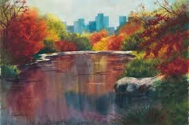 fall in central park original watercolor painting