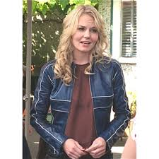 gorgeous once upon a time emma swan blue leather jacket l womens leather jackets