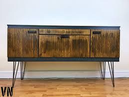 Industrial Bar Cabinet Teak Sideboard Drinks Record Cabinet On Hairpin Legs Voodoonest