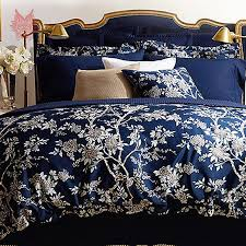 luxury royal blue bedding quilt set flowers shades gold colored in shades and