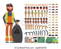 Sanitation Worker Job Description Sanitation Worker Vector Man Character Creation Constructor With Set Of Body Parts And Garbage Collection Equipment