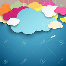 Clouds Design Colorful Paper Cut Clouds Shape Design On Blue Background Royalty