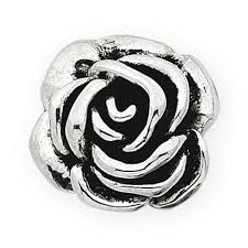 sterling silver large rose pendant