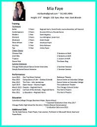 Resume Format For Dance Teacher Professional Dance Resume Template Pin By Kyla Langdon On