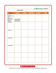 Morning Routine Printable Chart Morning Routine Chart Worksheets Printables Scholastic