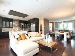 Open Concept Modern Family Room Den And Kitchen Design Stock Photo Open Concept Living Room Dining Room And Kitchen