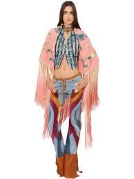 roberto cavalli embroidered fringed crepe de chine shawl pink women clothing shawls roberto cavalli bags