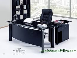 Office Furniture Modern Custom Tempered Glass Office Desk Boss Desk Table Commercial Office