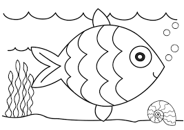 Fish Coloring Pages Underwater With Shell Seaweed Coloringstar