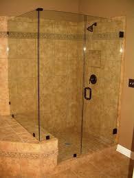 corner frameless glass shower door with black hinge