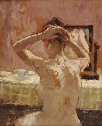 girl doing her hair bernard dustan r british oil on board 9 ½ x 7 ½ ins x 19 cms