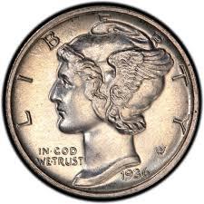1936 Mercury Dime Values And Prices Past Sales