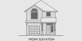house front drawing elevation view for 10158 narrow house plan at 22 feet wide with open