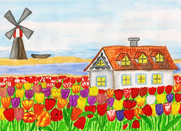 house with tulips house in holland painting stock ilration image