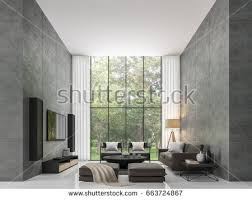 modern loft furniture. Modern Loft Living Room 3d Rendering Image The Has A High Ceiling. There Furniture