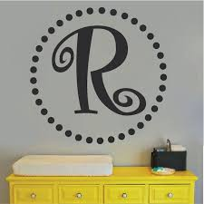 curly initial monogram wall decal zoom