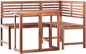Festnight Balcony Table Corner <b>Bench</b> Dining Table Wooden ...