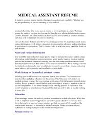 Samples Of Medical Assistant Resumes Medical Istant Resumes Entry