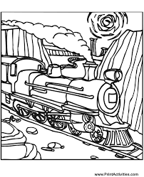 Small Picture Steam Train Coloring Page Train on the tracks