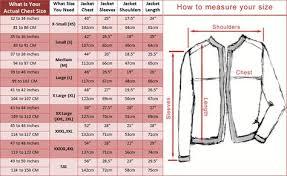 Leather Jacket Size Chart Size Chart For Jacket Jackets Size Chart Shoulder Sleeve
