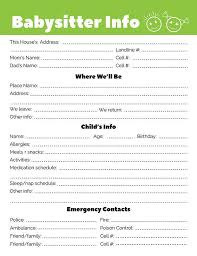 babysitter information sheet printable babysitter info sheet printable the digital download shop