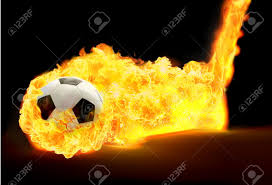 Black And White Soccer Ball In Flames On Black Background Stock ...