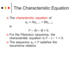 the characteristic equation the characteristic equation of a n aa n 1 ba n