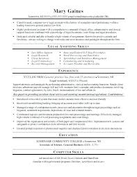 Objective For Legal Assistant Resume Legal Secretary Resume Objective 31