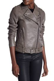 image of soia kyo belted genuine leather moto jacket