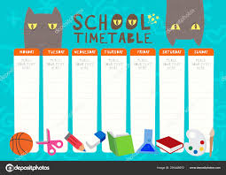 Weekly Timetable Planner Kids Weekly Planner With Funny Cat Cartoon Characters A