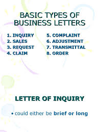 Basic Types Of Business Letters Inquiry Sales
