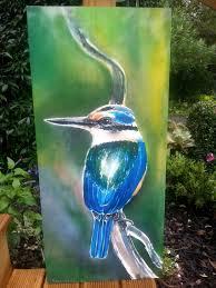 outdoor wall art kingfisher bird new zealand from my original silk painting  on outdoor wall art new zealand with outdoor wall art kingfisher bird new zealand from my original