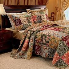 French Country Patchwork Quilt Bedspread Set Oversized 120 x 118 ... & French Country Patchwork QUILT BEDSPREAD SET Oversized 120 x 118 Super King  -Great bedding for Adamdwight.com
