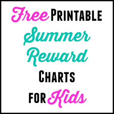 Free Printable Summer Reward Chart For Kids Thrifty Little Mom