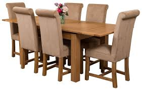 richmond solid oak 140cm 220cm extending dining table with 6 washington dining chairs beige