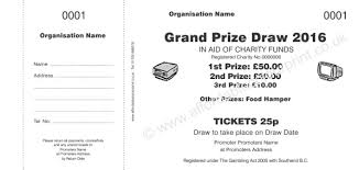 Prize Draw Tickets Raffle Ticket 001 Charity