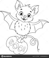 Vleermuis Met Pompoen Voor Halloween Kleurplaat Pagina Stockvector