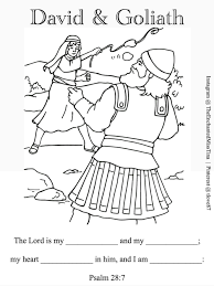 Coloring Pages Davidnd Goliath Coloring Page Psalm Fill In Memory