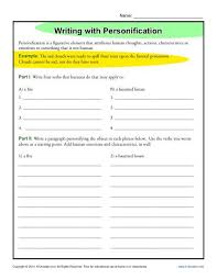 writing personification figurative language worksheets writing worksheet activity personification