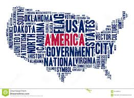 american flag word art united states of america cloud of words in contour of america