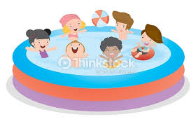 swimming pool vector. Kids In Swimming Pool, Children For Summer Season. Kid Inflatable Pool : Vector Art