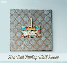 stenciled burlap diy rustic decor supplies