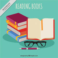 pile of books and gles background free vector