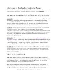 cover letter for college instructor fitness instructors resume formal resume