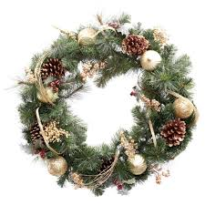 martha stewart living 30 in unlit golden holiday artificial wreath