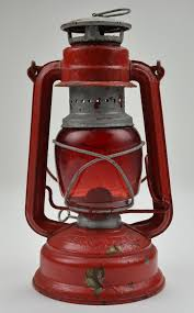 feuerhand vintage red 276 oil lantern with red glass globe 11 tall
